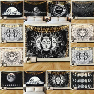Trippy Sun Moon Phase Tapestries Wall Hanging Tapestry Throws Bedspread Decor