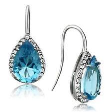 Pear Cut Sea Blue Synthetic Glass Stainless Steel Dangle Earrings TK1373