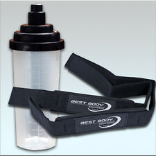 Best Body Nutrition Zughilfe Stoff mit Neoprenpolster 1 Paar + Eiweiss Shaker
