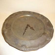Alter Zinnteller Zinnuhr Uhr mit Uhrwerk Zinn pewter Plate tin