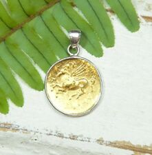 Gold Coin Pendant - 18K - Sterling Silver - Pegasus - Simple Design