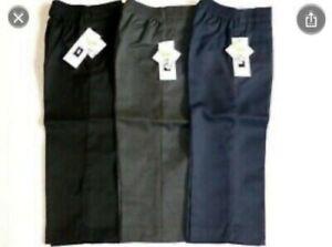 Age 3-11 Boys Pull Up School Trousers Black Grey Navy Teflon Elasticated Back