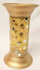 """2 New PartyLite P9903 9"""" Gold Mosaic Pillar Column Candle Holders"""