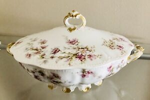 Haviland & Co Limoges Pink & Pale Blue Floral Covered Round Footed Serving Dish