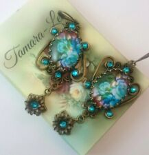 STUNNING UNIQUE HANDMADE MOTHERS DAY VICTORIAN STYLE DANGLING EARRINGS