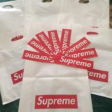 Supreme Plastic Tote Bag Red Box Logo Shopping Bag and Sticker Bundle