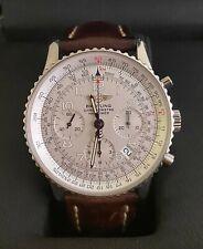 BREITLING Men's Chronometre Watch A23322 White Dial Leather Wrist Strap