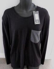 New LEE COOPER Black & Grey Pocket LONG SLEEVE Tee Shirt top Size S MED RRP $70