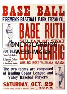 1927 BABE RUTH & LOU GEHRIG BASEBALL TOUR 11X17 POSTER FIREMAN'S PARK FRESNO, CA