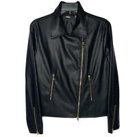 Tahari Women's Lg. Faux Leather Moto Jacket Black Zip pockets sleeves NWT NEW