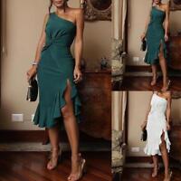 Women's Sexy One Shoulder Off Sleeve High Low Hem Slit Loose Irregular Dress