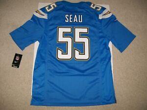 NEW Medium Junior Seau #55 SD LA Chargers Nike NFL Jersey Blue On Field $100 HOF