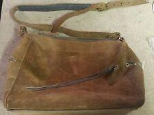 Vintage Genuine Brown Cowhide Leather Crossbody Shoulder Bag/Purse USA MADE