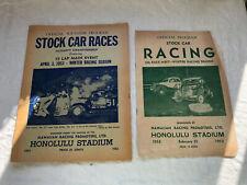 2 Different 1953 Stock Car Racing Program Honolulu Hawaii Racing Promotions