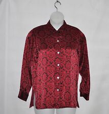 Linea by Louis Dell'Olio Tile Print Charmeuse Shirt Size S Red/Black