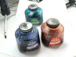 VINTAGE PARKER QUINK INK BOTTLES  PARTIAL FULL RARE USA MADE INK BOTTLES 3 COLOR