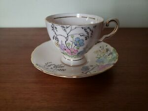 Tuscan Teacup And Saucer Pink w/ Hand Painted Flowers Asian Theme China England