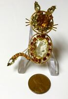 Vintage Signed Kramer Amber Yellow Rhinestone Cat Kitty Trembler Brooch Pin Gold
