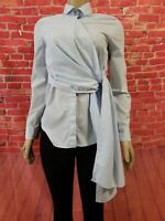 COS LONG SLEEVE BLUE TIE FRONT BUTTONED WOMEN'S SHIRT BLOUSE SIZE 2