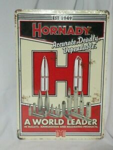 EMBOSSED HORNADY AMMUNITION A WORLD LEADER TIN WALL TACKER SIGN  VINTAGE STYLE