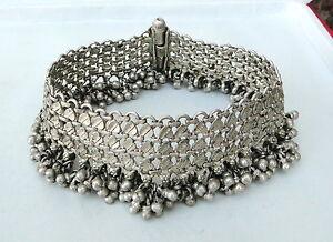 Antique ethnic tribal old silver Anklet Bracelet pair Belly dance Rajasthan Ind