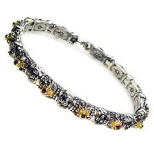 Gerochristo 6076 ~ Solid Gold, Silver & Rubies Medieval-Byzantine Bracelet