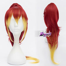 """Ao no Exorcist Golden Yellow mixed Red 32"""" Anime Halloween Cosplay Wig+Ponytail"""