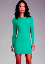 NWT bebe green long sleeve zipper back stretchy bodycon top dress S small 2 4