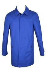 New Burberry Men's $995 Brit Langley Cotton Blue Rain Trench Coat Jacket Large