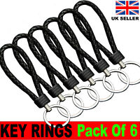 Keyrings Braided Faux Leather Black Strap Car Keyring Silver Keychain Pack of 6