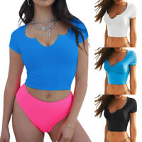 Women Ladies V Neck Crop Tops Short Sleeve T Shirt Tee Casual Blouse Clothes