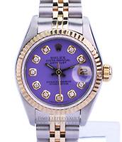 Rolex Ladies Datejust Quickset  Diamond Dial 18K Gold Fluted Bezel 26mm Watch