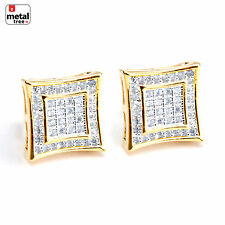 Mens 14K Gold Plated Double Square Kite 2 Tone Screw Back Stud Earring BE 002 TT