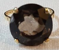 9 carat solid gold & smokey quartz vintage Art Deco antique ring - size O