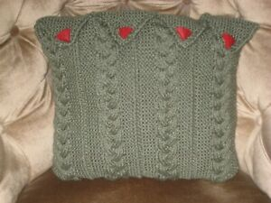 Knitted Cushion Cover in green - as illustrated