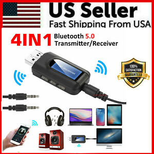 Bluetooth 5.0 Transmitter Receiver 4 IN 1 Wireless Audio 3.5mm USB Aux Adapter