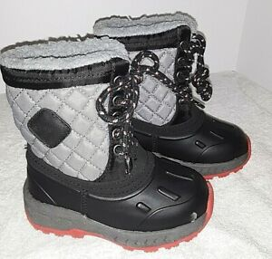 CARTERS SNOW BOOTS--Toddler Size 6 Grey & Black Lace Ups Brand New FREE SHIPPING