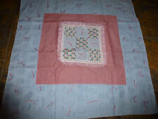"""Handmade Hand  Tied Doll/Baby Quilt 28"""" x 28"""" Blue Floral Lace Diamond Design"""