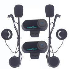 2x 800m Interphone Intercom Moto Casque Helmet Bluetooth 3 Riders Headset+FM