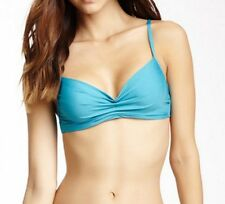BADGLEY MISCHKA $60 Pacific Blue Solid Underwire Bikini Top Padded 8 bm55t SEXY!