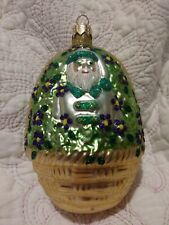 "#9713 Patricia Breen ""Forget-Me-Not Santa"" Blown Glass Christmas Ornament 5"""