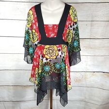 BISOU BISOU Maternity Top Size S Short Kimono Sleeve Lined Polyester Tie Back
