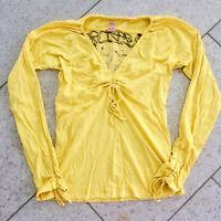 REPLAY Damen Marken Oberteil Raff Shirt Langarm Rückenprint gelb Gr. L (38) wNeu