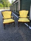 Pair vintage French carved open arm chairs