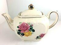 Rare Sadler Teapot England Pink with Gold Trim, Floral, Cube