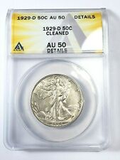 Sharp 1929-D Walking Liberty Half Dollar Graded by ANACS AU-50 Details-Cleaned