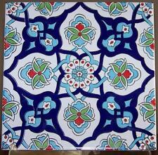 "Green, Blue & Red 8""x8"" Turkish Iznik Carnation & Daisy Pattern Ceramic Tile"