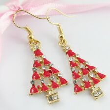 Enamel & Rhinestone Christmas Tree Charm Hook Earrings 50mm