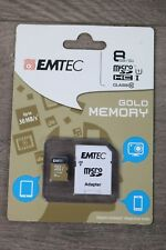 NEW Emtec 8GB Micro SD HCI Class10 Memory Card with SD Adapter Sealed |832