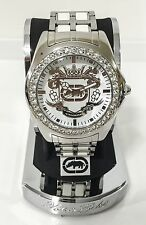 New Marc Ecko ULTD. White Stainless Steel Crystal Men's Watch E95016G6 Authentic